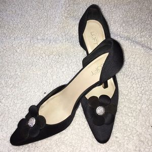 Loft black heels with flower & rhinestones